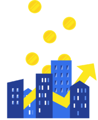 illustration buildings with gold coins falling